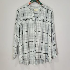 Cloth & Stone Frayed Oversized Plaid Top